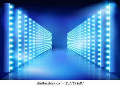Festival of light. Illuminated stage. Vector illustration.