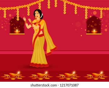 Festival Of Lights Diwali celebration background, Young lady decorate her home with floral garlands and illuminated oil lamps.