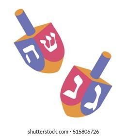 Festival of lights. Feast of dedication. Dreidel for Hanukkah icon. Vector chanukah dreidels in various colors
