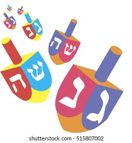 Festival of lights. Feast of dedication. Dreidel for Hanukkah icon. Vector chanukah dreidels in red and blue colors