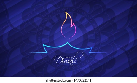 Festival of lights. Glowing neon indian diya oil lamp. Happy Diwali abstract light background with decorative pattern of ethnic round ornament for your design