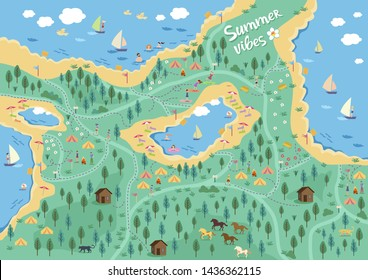Festival map of a sports camp summer vibe flat style of vector design