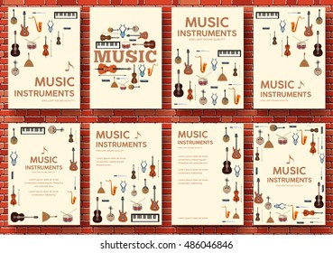 Festival music instruments circle infographics template concept. Vector flat with long shadow illustration background. Icons design for your product or web and mobile applications.