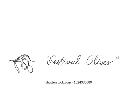 Festival olives oil vector simple background. Olive branch in one continuous line drawing sketch. Spainish festival.