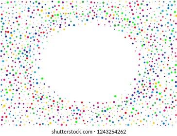 Festival pattern with color round glitter, confetti. Random, chaotic polka dot. Bright background  for party invites, wedding, cards, phone Wallpapers. Vector illustration. Typographic design.