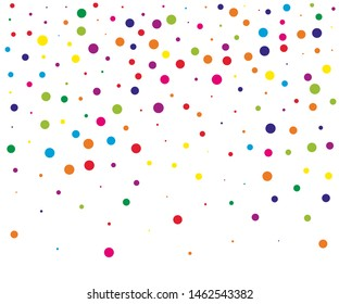 Festival pattern with color round glitter, confetti. Random, chaotic polka dot. Bright background  for party invites, wedding, cards, phone Wallpapers. Vector illustration.