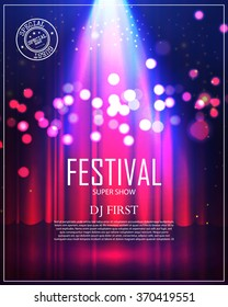 Festival Poster with Spotlight. Concert, Party, Theater, Dance & Show Design. Empty Scene with Stage Curtain. Poster Template with Light Effect. Vector illustration