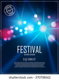 Festival Poster Template with Spotlights & Bokeh. Concert, Party, Theater, Dance, Presentation & Show Design. Empty Scene with Stage Curtain. Vector illustration