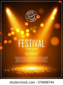Festival Poster Template with Spotlights & Bokeh. Win, Concert, Party, Theater, Dance, Presentation & Show Design. Empty Scene with Stage Curtain. Vector illustration