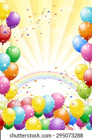 Festival rainbow background with colorful balloons and scattered confetti. Celebration.