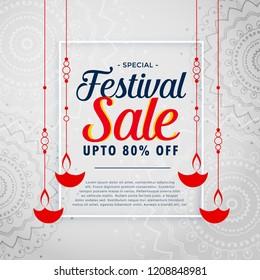 festival sale background with hanging diwali diya
