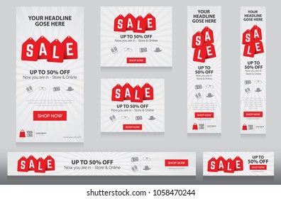 Festival Sale Banners Collection with 50% Discount Tag for Business Promotion, Marketing Online Sale