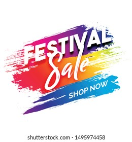 Festival Sale with colorful brush patch