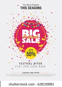 Festival Sale Template with Abstract Background - Big Sale Template Design with 50% Discount Tag