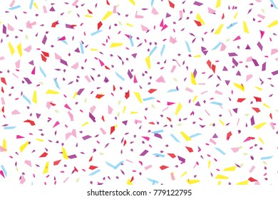 Festival seamless pattern with confetti. Repeating background, vector illustration Rectangular horizontal