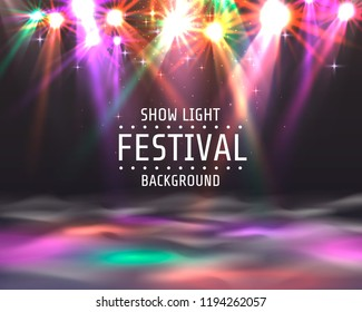 Festival show light, dance floor banner, disco text signboard. Vector illustration