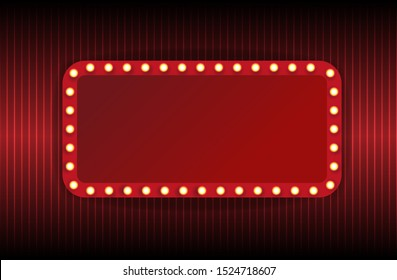 Festival or show poster, invitation concert banner Vector stock illustration. A theater stage with a red curtain.