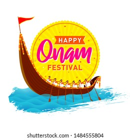 Festival of South India Happy Onam Banner, Logo design, Sticker, Concept, Greeting Card, Template, Icon, Poster, Unit, Label, Web, Mnemonic with rays and Snakeboat race, Vallam-kali team background.