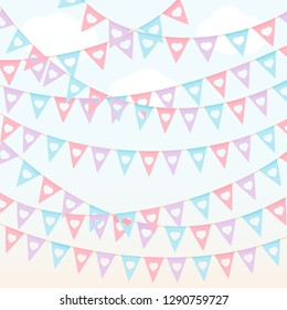 Festival triangle flags pastel color red violet hanging on the blue sky vector background