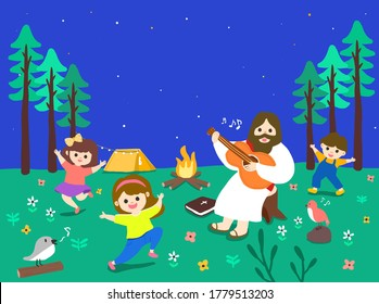 Festivals of Jesus and the Lamb, Happy Summer Bible School Camp, Exciting Bible Study, Happy Jesus and Children, Happy Daily Life of Bible Studying the Bible