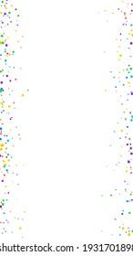 Festive awesome confetti. Celebration stars. Bright confetti on white background. Fine festive overlay template. Vertical vector background.