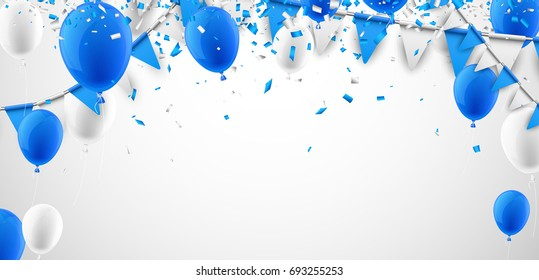 Festive background with blue and white flags and balloons. Vector illustration.
