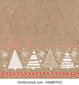 Festive background with Christmas trees and snowflakes on kraft paper. Vector illustration can be greeting cards, invitations, and design element.