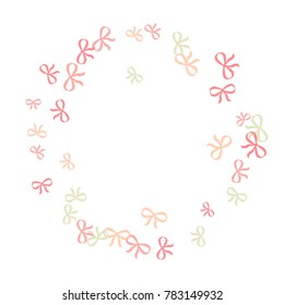 Festive Background with Colorful Bows. Delicate Pattern for Postcard, Print, Banner or Poster. Little Pretty Bows For Party Decoration, Wedding, Birthday or Anniversary Invitation. Vector Frame.