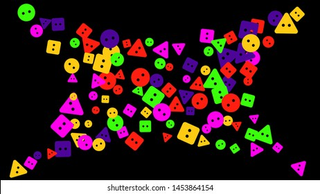Festive Background with Colorful buttons. Trendy Pattern for Postcard, Print, Banner or Poster. Vector