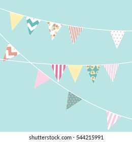Festive background with flags. Birthday child. Vector illustration.