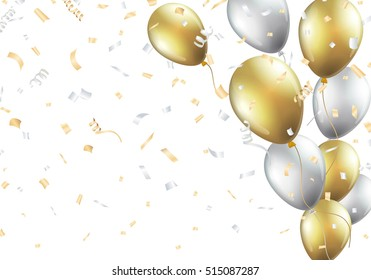 Festive background with gold and silver balloons