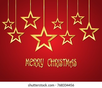 Festive background with golden Christmas stars.Vector illustration. Holiday greeting.