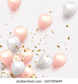 Festive background with helium balloons. Celebrate a birthday, Poster, banner happy anniversary. Realistic decorative design elements. Vector 3d object ballon, pink and white color. flight up