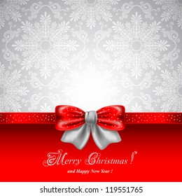 Festive background with red bows and copy space