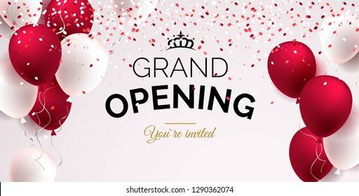 Festive background with red and white balloons. Grand opening concept. Vector illustration