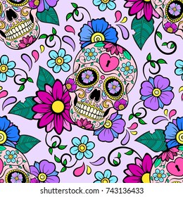 Festive background with sugar skulls, heart and flower ornament. Day of the dead. Seamless vector pattern.