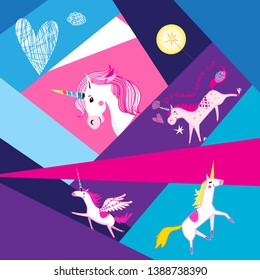 Festive background with unicorns on geometric colored background