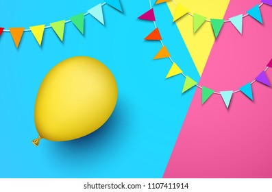 Festive background with yellow realistic 3d balloon and garlands of colorful flags. Vector illustration.