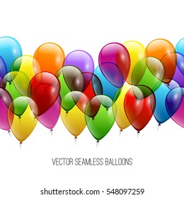 Festive Balloons real transparency. Vector illustration EPS 10. Seamless background.
