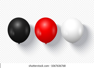 Festive balloons in realistic style on transparent background. Vector illustration.