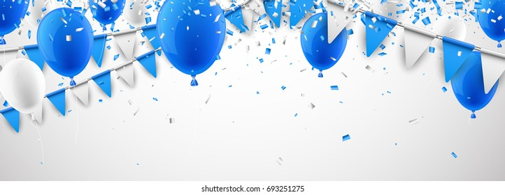Festive banner with blue and white flags and balloons. Vector illustration.