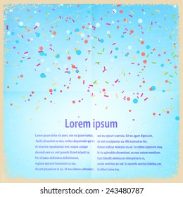 Festive banner with confetti and streamers on a blue retro background. Vector illustration.