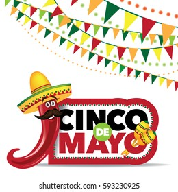 Festive banner and icon set design for Cinco De Mayo with ribbon, balloons, confetti, fireworks, sombreros and other fun objects. EPS 10 Vector.
