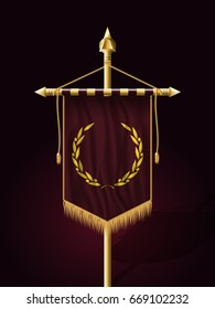Festive Banner Vertical Flag with Flagpole. Wall Hangings with Gold Tassel Fringing. Has Place for Inscription or Logo