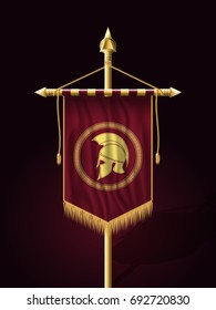 Festive Banner Vertical Flag with Helmet of Warrior. Wall Hangings with Gold Tassel Fringing. Has Place for Inscription or Logo