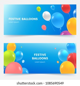 Festive banners with colorful balloons on blue sky. Multicolored flying balloons background. Grand opening, birthday or wedding invitation concept. Vector illustration.
