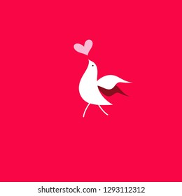 Festive beautiful card with a bird in love on a red background