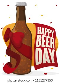 Festive beer bottle decorated with a bow and ribbon under confetti shower with a greeting sign for Beer Day celebration.