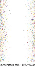 Festive bewitching confetti. Celebration stars. Childish bright stars on white background. Fine festive overlay template. Vertical vector background.