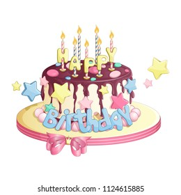 A festive birthday cake for the princess. A chocolate-coated tart with lighted candles, congratulations, colorful candy stars and a bow on the razor. Vector cartoon elements for greeting card.